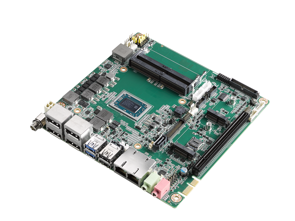 Advantech Industrial-grade Mini-ITX motherboard with AMD Ryzen™ Embedded  V1000 series (v1202B),  4 x Display ports, 6 x USB, 6 x COM, and 12-24V DC-In.