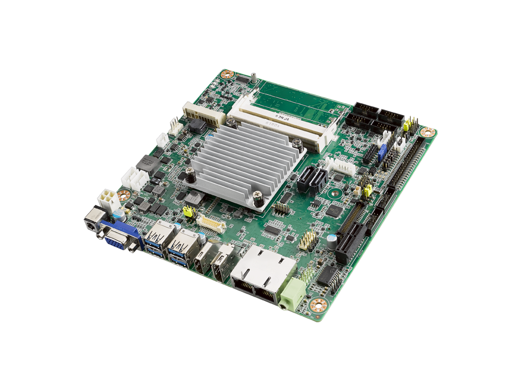 Industrial-grade Mini-ITX motherboard with fanless Intel Atom<sup>®</sup> x7-E3950 Processor, wide operating temperature (-20 ~ 70° C) featuring 1x HDMI, 1x DP, 2x LAN, 6x COM, 2x SATA III, 4x USB 3.0, 1x Mini PCIe (f/s) and 1x M.2.